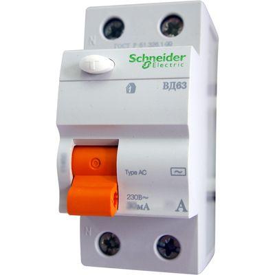 Schneider electric Дифференциальное реле ВД63, 2P, 30mA, 40A (11452) цена