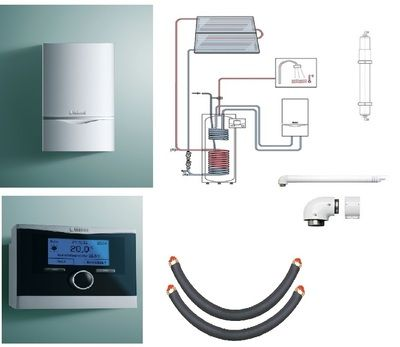Пакет Vaillant ecoTEC plus VU OE 466/4+auroSTEP plus 2.250 HT+VRC470 +Патрон для смягчения воды подпитки (0020201548) цены