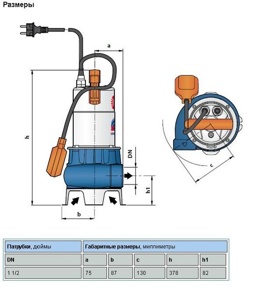 Насос дренажно-фекальный Pedrollo ZXm 1A/40, кабель 5м